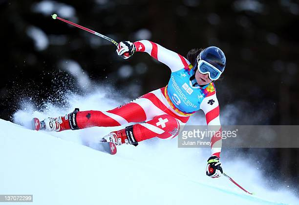 Luana Fluetsch of Switzerland skis in the Ladies Super Combined event during the Winter Youth Olympic Games on January 15 2012 in Patscherkofel...