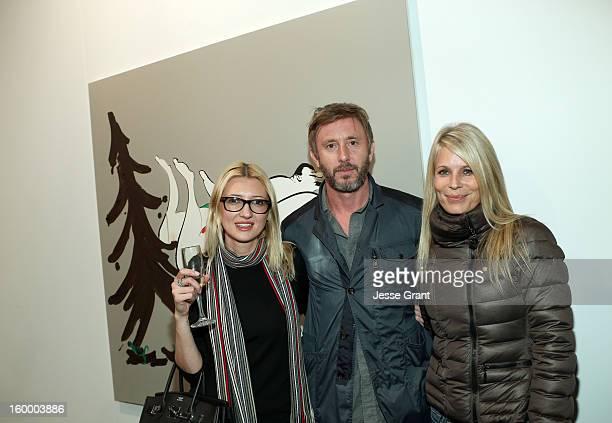 Luana Hildebrandt Jake Weber and Korri Culberson attend Art Los Angeles Contemporary opening night at Barker Hangar on January 24 2013 in Santa...
