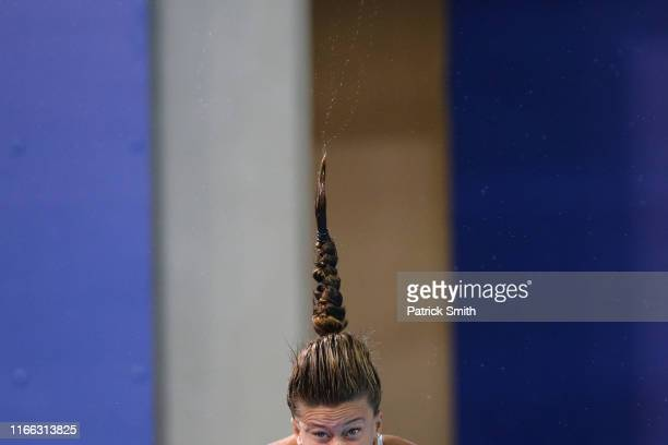 Luana Wanderley Moreira of Brazil competes in Women's Diving 3m Springboard Final on Day 10 of Lima 2019 Pan American Games on August 05 2019 in Lima...