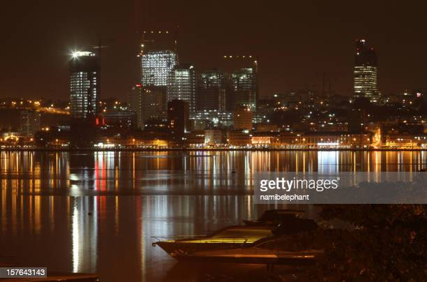 luanda at night - angola stock pictures, royalty-free photos & images