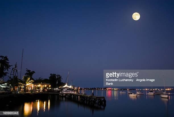 Luanda Bay by night seen from Clube Naval de Luand