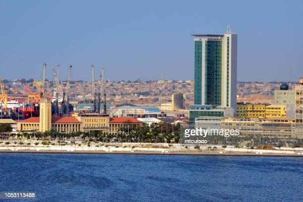 Luanda Bay - panorama of the waterfront avenue, Avenida Marginal / 4 de Fevereiro - port area, Angola