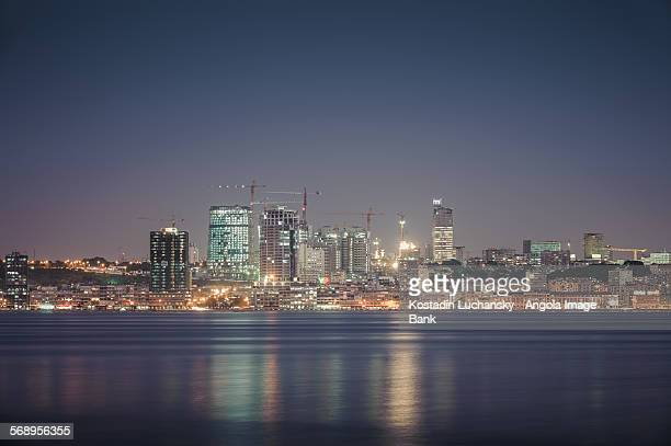 Luanda city as seen from the bay at dusk