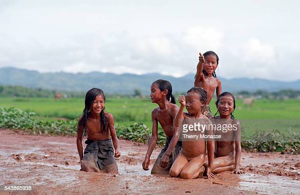 Luang Nam Tha Laos August 2003 Childs are playing in the mud