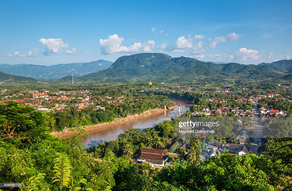Luang Prabang and Nam Khan River : Stock Photo