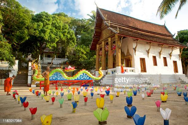 luang prabang festival of lights - laotian culture stock pictures, royalty-free photos & images