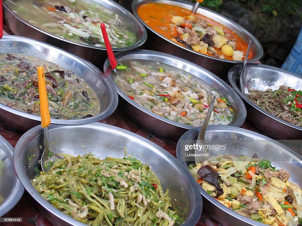 Luang Prabang, mercato serale : ストックフォト