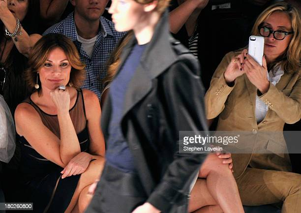 LuAnn de Lesseps and Sonja Morgan attend the Zang Toi fashion show during MercedesBenz Fashion Week Spring 2014 at The Stage at Lincoln Center on...