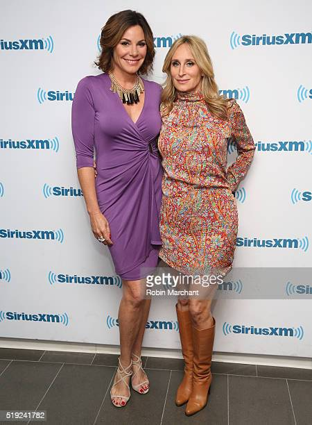 Luann de Lesseps and Sonja Morgan visit at SiriusXM Studio on April 5 2016 in New York City