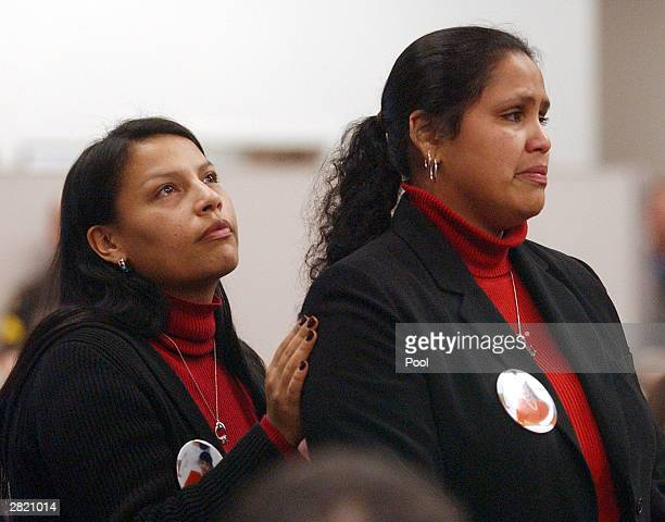 LuAnna Yellowrobe mother of Green River Killer victim Patricia Yellowrobe puts her hand on the shoulder of her daughter Rona Walsh as she addresses...