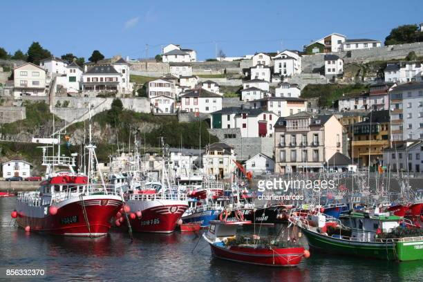 luarca village - moored stock pictures, royalty-free photos & images