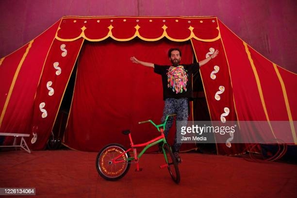 Luatier Caled Yepes from Colombia trains circus activities on May 20 2020 in Queretaro Mexico As nonessential activities are not permitted during...