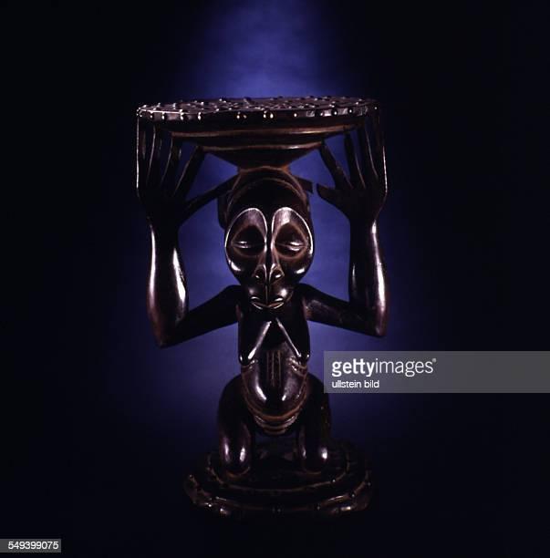 Luba stool wood 48 cm Zaire