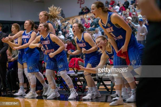 Lubbock Christian Chaparrals guard Laynee Burr and teammates celebrate after a play in the Div II Women's Championship second round game between the...