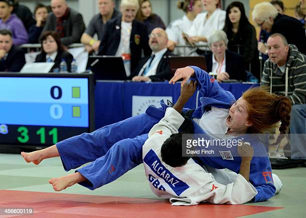 Lubjana Piovesana of Bishop Challoner JC screams with joy after throwing Prisca Awiti of Enfield JC for ippon in extra time on her way to the u63kg...