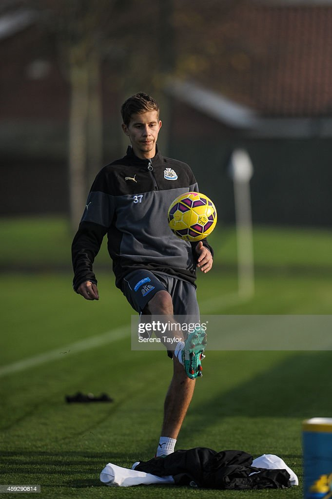 Lubomir Satka in action during a Newcastle United training session at The Newcastle United Training Centre on November 20, 2014, in Newcastle upon Tyne, England.