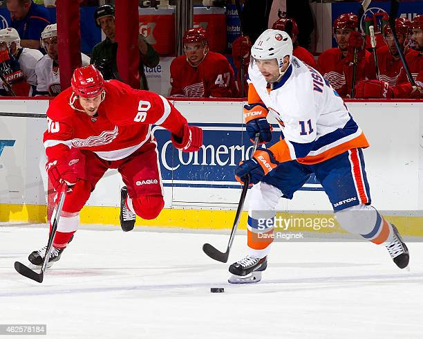 Lubomir Visnovsky of the New York Islanders skates with the puck as Stephen Weiss of the Detroit Red Wings gives chase during a NHL game on January...