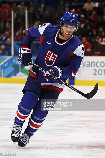 Lubos Bartecko of Slovakia skates during the ice hockey men's preliminary game between Slovakia and Russia on day 7 of the 2010 Winter Olympics at...