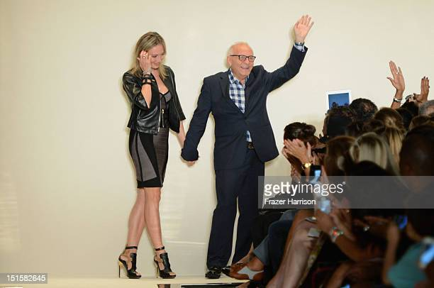 Lubov Azria and designer Max Azria walk the runway at the Herve Leger By Max Azria Spring 2013 fashion show during Mercedes-Benz Fashion Week on...