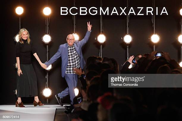 Lubov Azria and Max Azria greet the audience after presenting the BCBGMAXAZRIA Fall 2016 Collection at The Arc Skylight at Moynihan Station on...