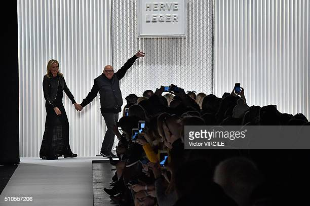 Lubov Azria and Max Azria walk the runway at the Herve Leger By Max Azria Fall/Winter 2016 fashion show during New York Fashion Week on February 13...