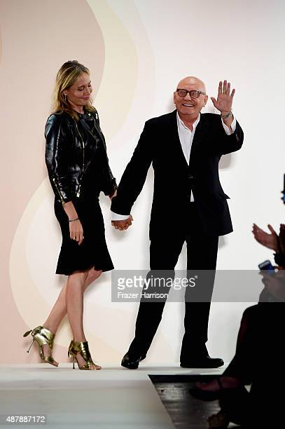 Lubov Azria and Max Azria walk the runway wearing Herve Leger by Max Azria Spring 2016 during New York Fashion Week The Shows at The Arc Skylight at...