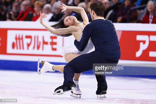 Lubov Iliushechkina and Dylan Moscovitch of Canada skate in the Pairs Free Skate on Day 6 of the ISU World Figure Skating Championships 2016 at TD...