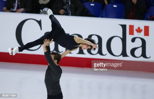 Lubov Ilyushechkina and Dylan Moscovitch of Canada practice during the 2018 Canadian Tie National Skating Championships at the Doug Mitchell...
