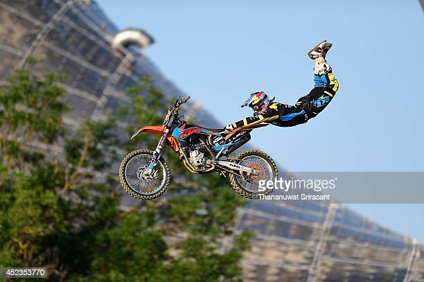 Luc Ackermann of Germany with KTM 350 competes during qualifying for the Red Bull XFighters World Tour on July 18 2014 in Munich Germany