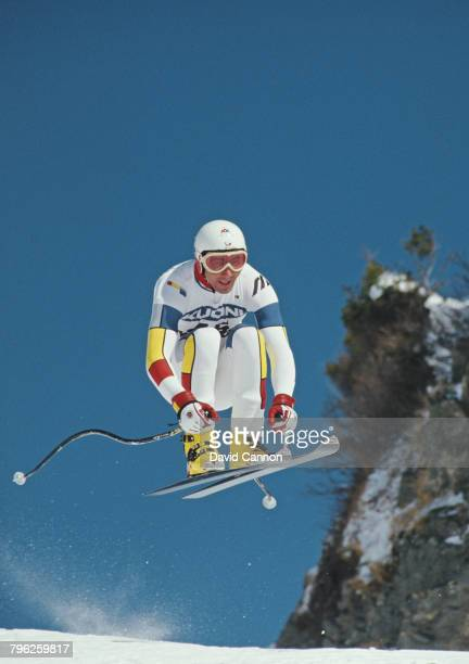 Luc Alphand of France goes airborne over the jumps during the International Ski Federation Men's downhill at the Alpine Skiing World Cup event on 17...