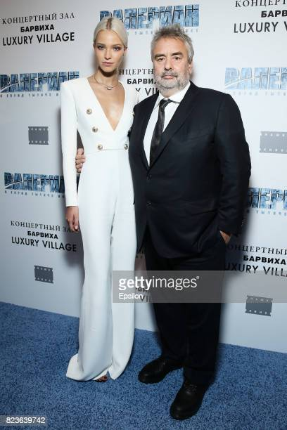 Luc Besson and Sasha Luss attend 'Valerian and the City of a Thousand Planets' Moscow Premiere at Barvikha Luxury Village on July 27 2017 in Moscow...