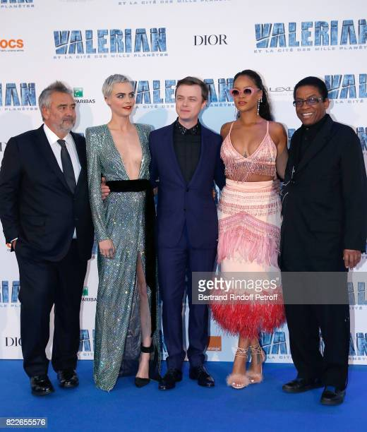 Luc Besson Cara Delevingne Dane DeHaan Rihanna and Herbie Hancock attend 'Valerian and the City of a Thousand Planets' Paris Premiere at La Cite Du...