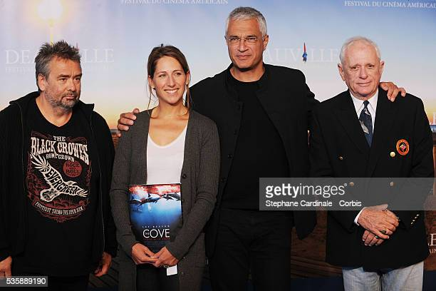 Luc Besson Maud Fontenoy Louie Psihoyos and Ric O'Barry attend The Cove photo call at the 35th American Film Festival in Deauville
