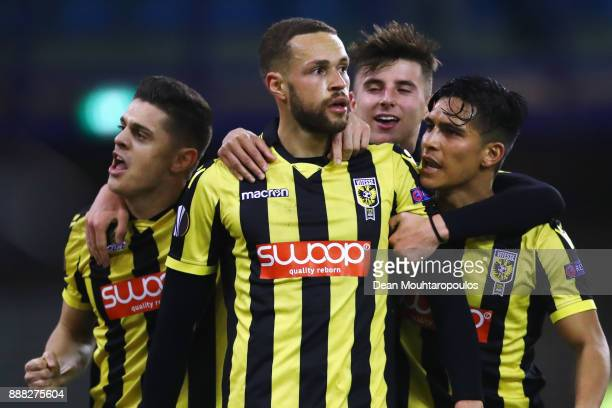 Luc Castaignos of Vitesse Arnhem celebrates scoring his teams first goal of the game in the final minutes with team mates during the UEFA Europa...