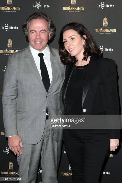 Luc Chatel and his wife Mahnaz Hatami attend Toutankhamon Le Tresor Du Pharaon Tutankhamun And The Golden Age Of The Pharaohs Exhibition at Grande...