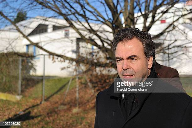 Luc Chatel Education Youth and Associative Activities Minister walks in front of the nursery school where a swordwielding teenager was holding five...