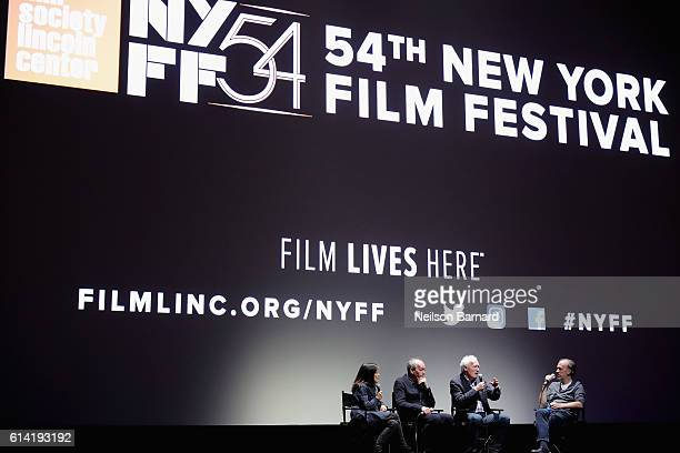 Luc Dardenne JeanPierre Dardenne and Kent Jones speaks onstage at the 54th New York Film Festival 'The Unknown Girl' Intro and QA at Alice Tully Hall...