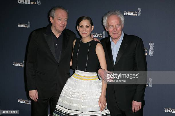 Luc Dardenne, Marion Cotillard and Jean-Pierre Dardenne attend the Cesar Film Awards at Theatre du Chatelet on February 20, 2015 in Paris, France.