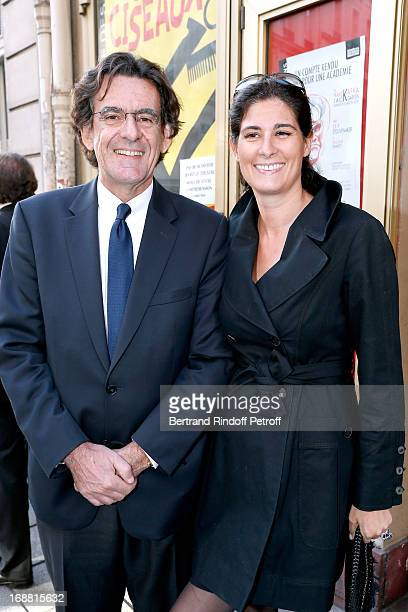 Luc Ferry and his wife MarieCaroline attend 'Ninon Lenclos ou La Liberte' Theater Play on May 15 2013 in Paris France