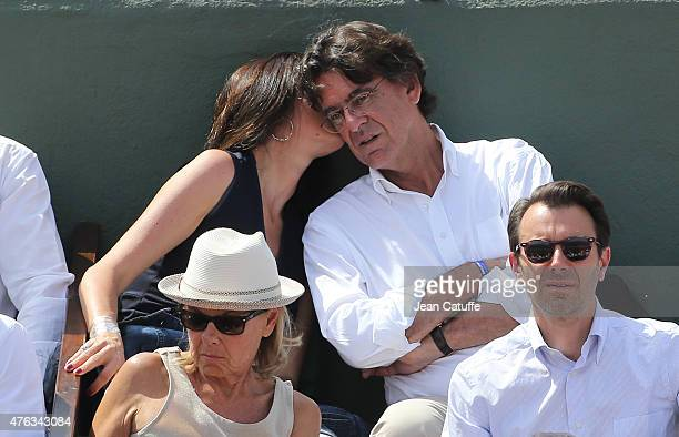 Luc Ferry and his wife Marie-Caroline Ferry attend the men's final on day 15 of the French Open 2015 at Roland Garros stadium on June 56 2015 in...