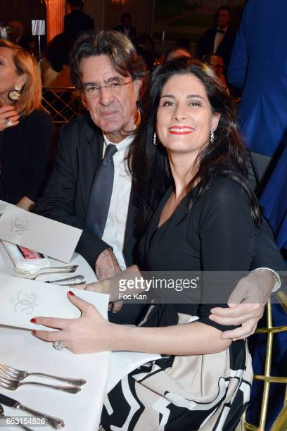 Luc Ferry and Marie Caroline Becq de Fouquieres attend 'La Recherche en Physiologie' Charity Gala at Four Seasons Hotel George V on March 13 2017 in...