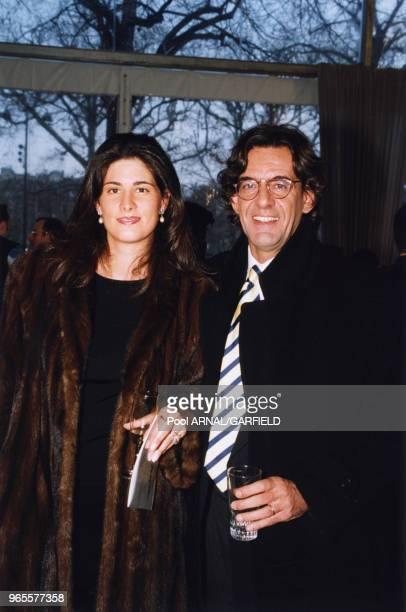 Luc Ferry et son épouse MarieCaroline à l'inauguration du Mur de la Paix le 31 mrs 2000 à Paris France