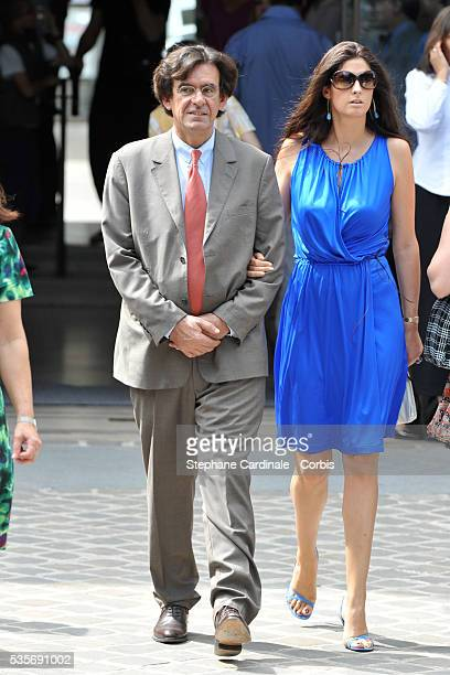 Luc Ferry with his wife Marie Caroline at the wedding of Laurence Ferrari and Renaud Capucon
