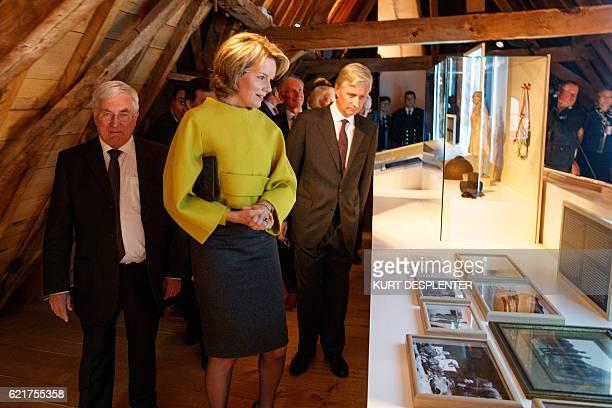 Luc Glorieux Queen Mathilde of Belgium and King Philippe Filip of Belgium visit the 'Koning Albert I en de Grote Oorlog King Albert I and the Great...