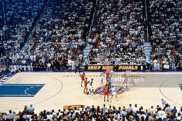 Luc Longley of the Chicago Bulls and Greg Ostertag of the Utah Jazz jump ball to begin Game Five of the 1997 NBA Finals at the Delta Center on June...