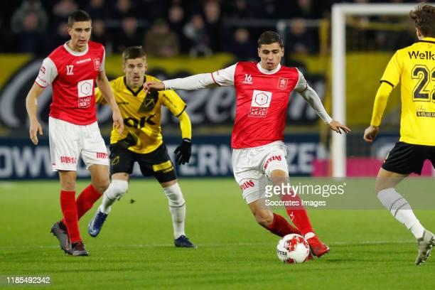Luc Mares of MVV, Luka Ilic of NAC Breda, Koen Kostons of MVV during the Dutch Keuken Kampioen Divisie match between NAC Breda v MVV Maastricht at...