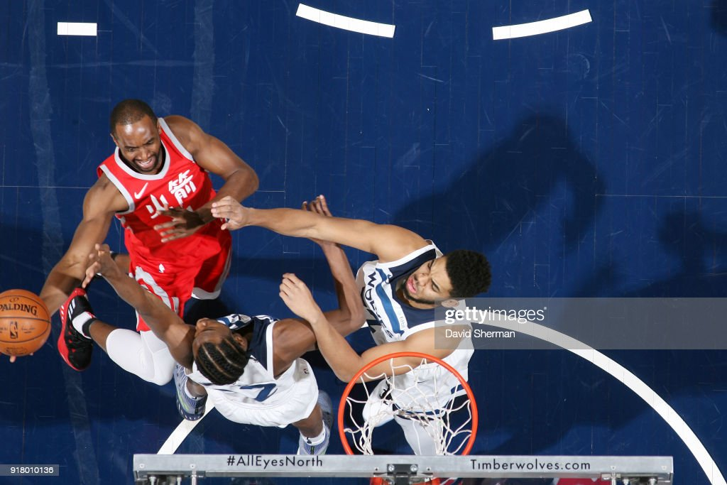 Luc Mbah a Moute #12 of the Houston Rockets goes to the basket against the Minnesota Timberwolves on February 13, 2018 at Target Center in Minneapolis, Minnesota.