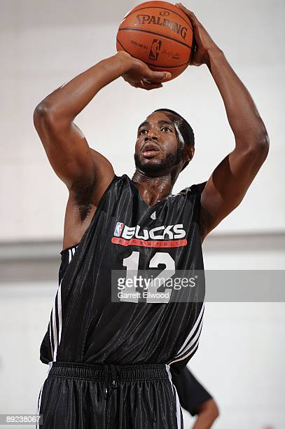 Luc Mbah a Moute of the Milwaukee Bucks shoots a free throw during NBA Summer League presented by EA Sports against the Chicago Bulls on July 15 2009...