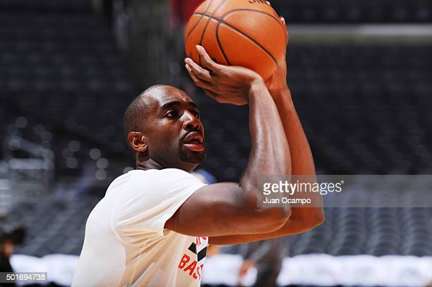 Luc Richard Mbah a Moute of the Los Angeles Clippers warms up before the game against the Milwaukee Bucks on December 16 2015 at STAPLES Center in...