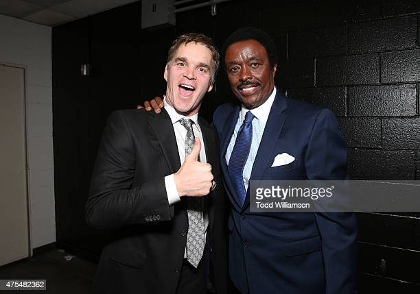 Luc Robitaille and Jim Hill attend the 2015 CedarsSinai Sports Spectacular at the Hyatt Regency Century Plaza on May 31 2015 in Century City...